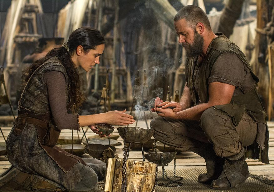 """This image released by Paramount Pictures shows Jennifer Connelly, left, and Russell Crowe in a scene from """"Noah."""" (AP Photo/Paramount Pictures, Niko Tavernise)"""