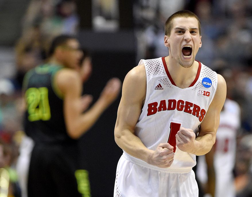 Wisconsin guard Ben Brust (1) reacts during the first half of an NCAA Tournament West regional semifinal against Baylor on Thursday in Anaheim, Calif. (AP Photo/Mark J. Terrill)