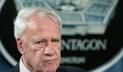 FILE - This Aug. 24, 2004 file photo shows former Defense Secretary James Schlesinger, chairman of the Detention Operations Review Panel speaking at the Pentagon. A Washington think tank confirms Schlesinger has died. (AP Photo/Lawrence Jackson, File)