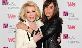 "FILE - This April 22, 2013 file photo shows TV personalities Joan Rivers, left, and daughter Melissa Rivers at the 2013 Matrix New York Women in Communications Awards in New York. Rivers, who for more than a half-century has turned her life inside out for comedy, is starting her fourth season doing it for the reality show she shares with her daughter, Melissa. ""Joan & Melissa: Joan Knows Best?"" airs Saturdays at 10 p.m. on WEtv.  (Photo by Evan Agostini/Invision/AP, File)"