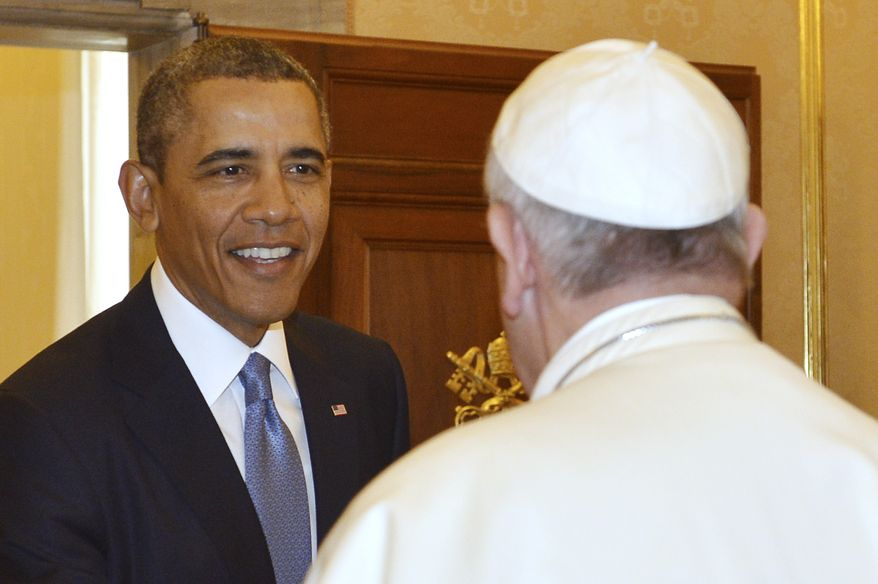 Pope Francis welcomes President Barack Obama at the Vatican Thursday, March 27, 2014. President Barack Obama is holding a historic first meeting with Pope Francis, the pontiff that the president views as a kindred spirit on issues of economic inequality and the poor. Obama arrived at the Vatican Thursday morning amid the pomp and tradition of the Catholic Church, making his way to greet the pope after a long slow procession. (AP Photo/Gabriel Bouys, Pool)