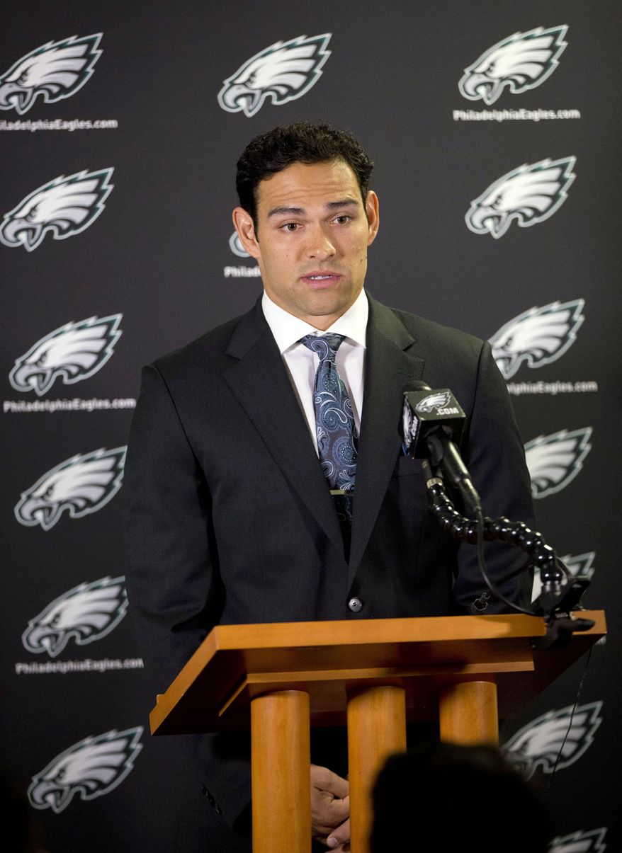 Philadelphia Eagles quarterback Mark Sanchez speaks during a news conference at the NFL football team's training facility, Friday, March 28, 2014, in Philadelphia. Sanchez agreed to a one-year contract with the Eagles after the New York Jets signed Michael Vick last Friday. (AP Photo/Matt Rourke)