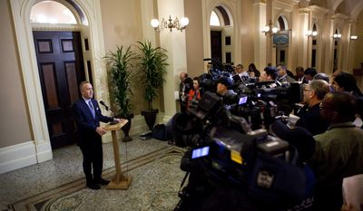California Senate President Pro Tem Darrell Steinberg, D-Sacramento, speaks to the media about a resolution to suspend three Democrats who face charges in criminal cases outside of his Capitol office in Sacramento, Calif., on Friday, March 28, 2014. The resolution which passed 28-1 prevents Democratic Sens. Ron Calderon, Leland Yee and Rod Wright from exercising any power of their office until the pending criminal cases against them have been resolved.(AP Photo/Steve Yeater)