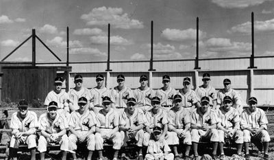 "This undated photo provided by the South Dakota State Historical Society in Pierre, S.D., shows a photo of the 1947 Aberdeen Pheasants of the Northern League, an independent professional baseball league that dates to 1902. The photo is part of the extensive collection of Northern League baseball memorabilia donated by South Dakota native Paul Gertsen to the State Historical Society, which plans to feature it prominently in an exhibit ""Play Ball! The National Pastime in South Dakota."" opening Oct. 24. Some items already are on display in the museum.  (AP Photo/Courtesy of the South Dakota State Historical Society)"