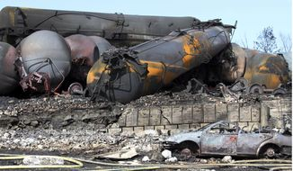 This July 8, 2013 file photo provided by Surete du Quebec via the Canadian Press, shows wrecked oil tankers and debris from a runaway train in Lac-Megantic, Quebec, Canada.  U.S. transportation officials say the oil industry is not giving up needed information needed to gauge the danger of moving crude by rail. Several oil train accidents,  including one in Quebec,  have highlighted the explosive properties of crude coming from booming oil shale fields on the Northern Plains. (AP Photo/Surete du Quebec, via The Canadian Press, file)
