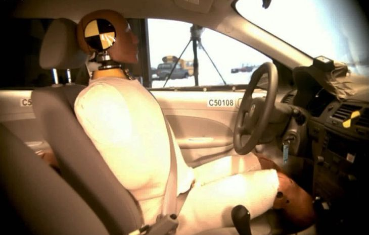 This undated image taken from video shows the National Highway Traffic Safety Administration ( NHTSA) crash test of a  2005 General Motors Cobalt. For years, the U.S. government's auto safety watchdog sent form letters to worried owners of the Chevrolet Cobalt and other General Motors small cars, saying it didn't have enough information about problems with unexpected stalling to establish a trend or open an investigation, however an Associated Press review released Friday, March, 28, 2014, of complaints to the National Highway Traffic Safety Administration shows that over a nine-year period, 164 drivers reported that their 2005-2007 Chevrolet Cobalts stalled without warning (AP Photo/NHTSA)