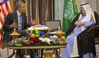 President Barack Obama meets with Saudi King Abdullah at Rawdat Khuraim, Saudi Arabia, Friday, March 28, 2014. Rawdat Khuraim is a green oasis located 62 miles northwest of the capital city of Riyadh and King Abdullah's private desert encampment is located within Rawdat Khuraim. (AP Photo/Pablo Martinez Monsivais)