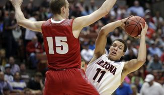 Wisconsin 's Sam Dekker (15) defends Arizona's Aaron Gordon (11) during the second half in a regional final NCAA college basketball tournament game, Saturday, March 29, 2014, in Anaheim, Calif. (AP Photo/Jae C. Hong)