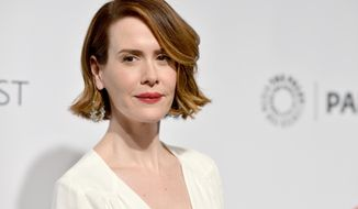 """Sarah Paulson arrives at PALEYFEST 2014 - """"American Horror Story: Coven"""" at the Kodak Theatre on Friday, March 28, 2014, in Los Angeles. (Photo by Richard Shotwell/Invision/AP)"""
