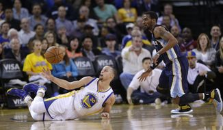 Golden State Warriors guard Stephen Curry, left, reaches for the ball as he falls down, while Memphis Grizzlies guard Mike Conley, right, watches during the first half of an NBA basketball game Friday, March 28, 2014, in Oakland, Calif. (AP Photo/Marcio Jose Sanchez)