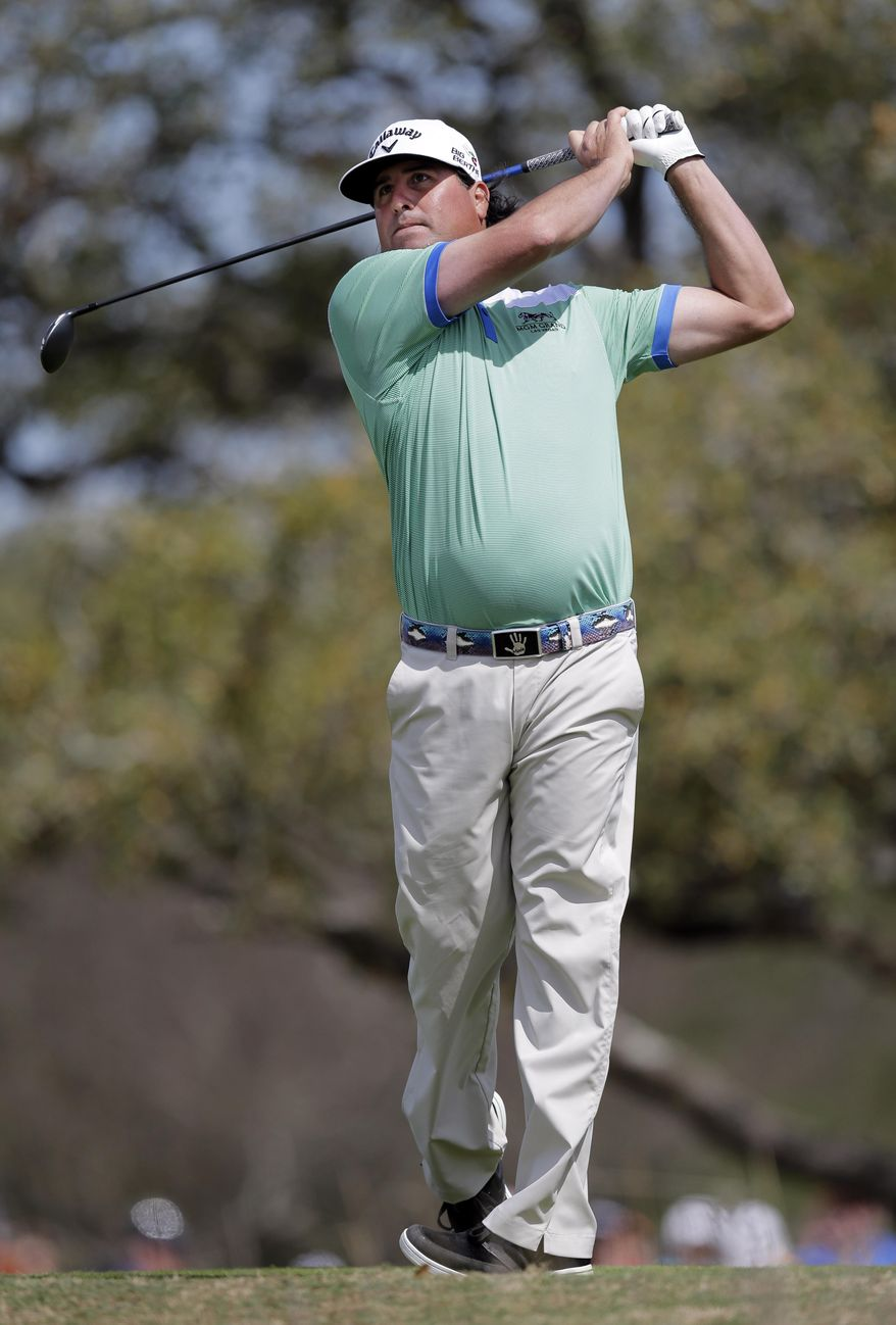 Pat Perez watches his drive off the second tee during the third round of the Texas Open golf tournament, Saturday, March 29, 2014, in San Antonio. (AP Photo/Eric Gay)
