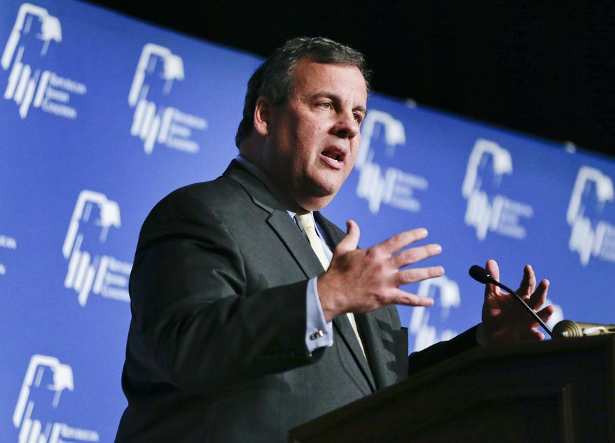 New Jersey Gov. Chris Christie speaks at the Republican Jewish Coalition, Saturday, March 29, 2014, in Las Vegas. Several possible GOP presidential candidates gathered in Las Vegas as Sheldon Adelson, a billionaire casino magnate, looks for a new favorite to help on the 2016 race for the White House. (AP Photo/Julie Jacobson)