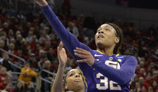 LSU's Danielle Ballard, right, shoots past the defense of Louisville's Bria Smith during the first half in a regional semifinal game at the NCAA women's college basketball tournament on Sunday, March 30, 2014, in Louisville, Ky. (AP Photo/Timothy D. Easley)