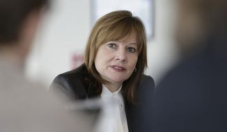 ** FILE ** This photo taken Jan. 23, 2014, shows General Motors CEO Mary Barra addressing the media during a roundtable meeting with journalists in Detroit. Barra will be asked by two congressional subcommittees why it took GM a decade to recall cars with faulty ignition switches that the company says are now linked to 13 deaths. (AP Photo/Carlos Osorio, File)