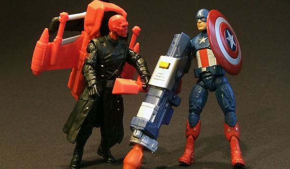 Air Raid Red skull and Shockwave Blast Captain America from Hasbro's Cinematic Universe 3.75 action figure collection. (Photograph by Joseph Szadkowski / The Washington Times)