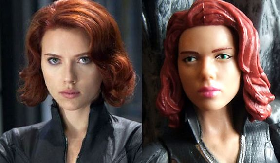 Actress Scarlett Johansson as Black Widow in The Avengers movie compared to her Hasbro action figure version.