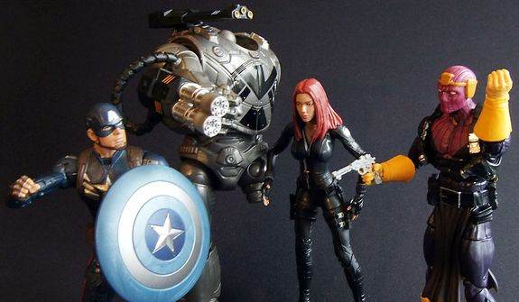 Captain America, Mandroid Build-a-Figure, Black Widow and Baron Zemo from Hasbro's Captain America: The Winter Soldier Marvel Infinite Series Legends action figure collection. (Photograph by Joseph Szadkowski / The Washington Times)