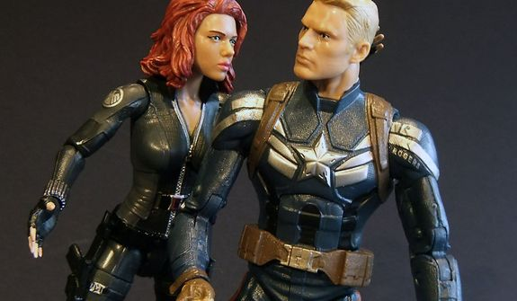 A touching moment between Hasbro's Marvel Infinite Series Legends Black Widow and Captain America. (Photograph by Joseph Szadkowski / The Washington Times)