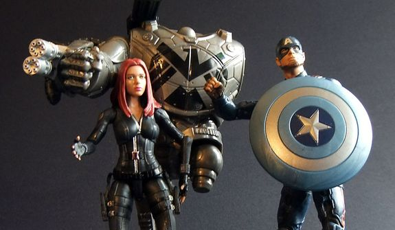 Hasbro's Marvel Infinite Series Legends Black Widow, a partially built Mandroid Build-a-Figure and Captain America are ready to attack. (Photograph by Joseph Szadkowski / The Washington Times)