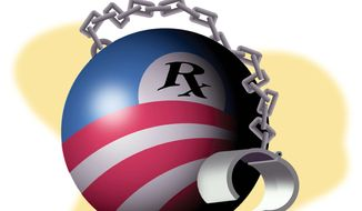 Illustration  on Obamacare by Alexander Hunter/The Washington Times