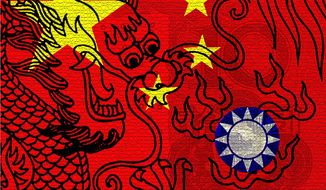 Illustration on China Taiwan economy by Alexander Hunter/The Washington Times