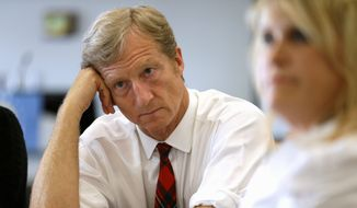 Businessman Tom Steyer listens during a meeting to announce the launch of a group called Virginians for Clean Government at Virginia Commonwealth University in Richmond, Va., Wednesday, Sept. 25, 2013. While Democrats hammer away at the influence of the Koch brothers, conservatives are swinging back by pointing to the liberal campaign activism and free-spending ways of the wealthy Steyer brothers, Jim and Tom. (Associated Press)