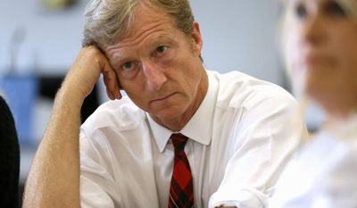 Associated Press   Businessman Tom Steyer listens during a meeting to announce the launch of a group called Virginians for Clean Government at Virginia Commonwealth University in Richmond, Va., Wednesday, Sept. 25, 2013. While Democrats hammer away at the influence of the Koch brothers, conservatives are swinging back by pointing to the liberal campaign activism and free-spending ways of the wealthy Steyer brothers, Jim and Tom.