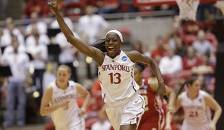 FILE - In this March 22, 2014 file photo, Stanford's Chiney Ogwumike (13) celebrates after scoring in the first half of a first-round game in the NCAA women's college basketball tournament against South Dakota in Ames, Iowa. Ogwumike was selected to The Associated Press women's basketball All-America team, released Tuesday, April 1, 2014. (AP Photo/Nati Harnik, File)