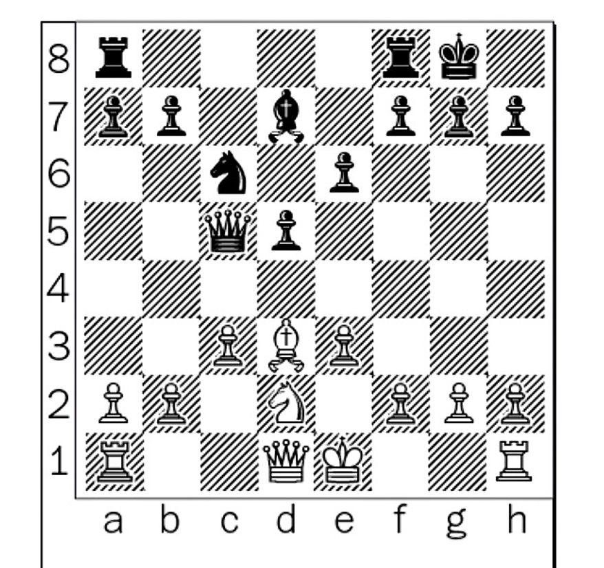 Kamsky-Shankland after 12...Qxc5.