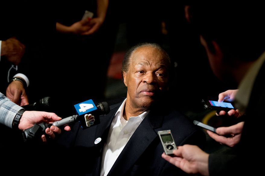 Former Mayor and Councilmember Marion Barry (D-Ward 8) speaks to reporters at Washington, D.C. Mayor Vincent Gray's primary election night party at the Hyatt Regency on Capitol Hill, Washington, D.C., Tuesday, April 1, 2014. (Andrew Harnik/The Washington Times)