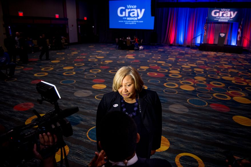 Yvette Alexander (D-Ward 7) speaks to members of the media at Washington, D.C. Mayor Vincent Gray's primary election night party at the Hyatt Regency on Capitol Hill, Washington, D.C., Tuesday, April 1, 2014. (Andrew Harnik/The Washington Times)