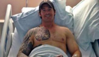 Former Navy SEAL Christopher Mark Heben recovers in a hospital after allegedly being shot in the stomach by assailants in Ohio. (Facebook)