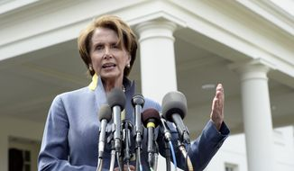 ** FILE ** House Minority Leader Nancy Pelosi of California speaks to reporters outside the West Wing of the White House in Washington, Tuesday, April 1, 2014, following her lunch with President Barack Obama. Pelosi was asked several questions about the Affordable Care Act. (AP Photo/Susan Walsh)