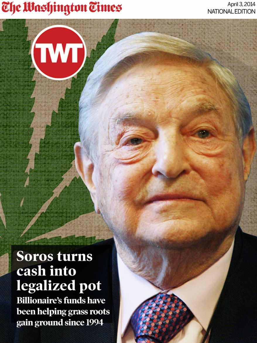 National Edition News cover for April 3, 2014 - Soros turns cash into legalized pot: George Soros photo illustration