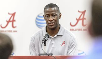 Alabama head college basketball coach Anthony Grant addresses the media during his season wrapup press conference, Wednesday, April 2, 2014, at Coleman Coliseum in Tuscaloosa, Ala  (AP Photo/Alabama Media Group, Vasha Hunt)