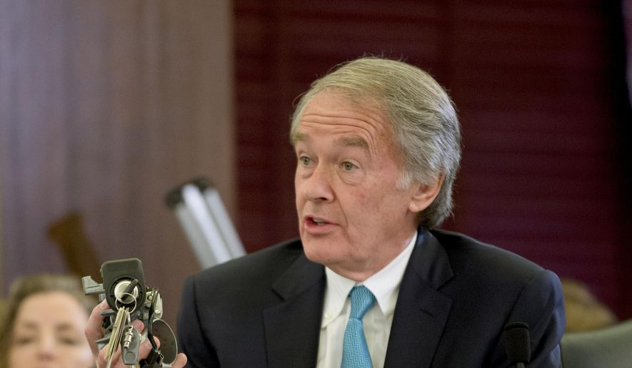 Sen. Edward Markey, D-Mass., holds up a GM ignition switch while questioning General Motors CEO Mary Barra on Capitol Hill in Washington, during a Senate Commerce, Science and Transportation subcommittee hearing, in this Wednesday, April 2, 2014, file photo. (AP Photo/Pablo Martinez Monsivais) ** FILE **