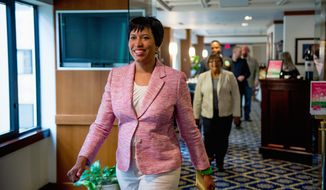 "Taking the next steps: ""We take no voters for granted,"" Muriel Bowser says in a post-primary speech. Political observers predict a bruising battle for D.C. mayor against David A. Catania in November. (Andrew Harnik/The Washington Times)"