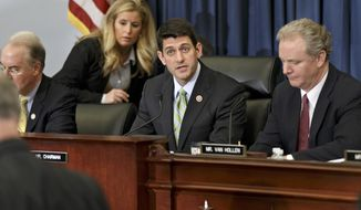 House Budget Committee Chairman Rep. Paul Ryan, R-Wis., center, presides over a markup session where House Republicans are crafting a budget-balancing plan that sharply cuts spending on transportation, health care programs for the middle class and the poor, food stamps and other domestic initiatives, Wednesday, April 2, 2014, on Capitol Hill in Washington. Ryan is flanked by Rep. Chris Van Hollen, D-Md., right, the committee's ranking member, and Rep. Tom Price, R-Ga., left.  (AP Photo/J. Scott Applewhite)