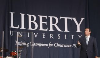 In this image provided by Liberty University, Sen. Ted Cruz, R-Texas., speaks in the Convocation Center at Liberty University in Lynchburg, Va., Wednesday, April 2, 2014. (AP Photo /Liberty University, Ty Hester) ** FILE **