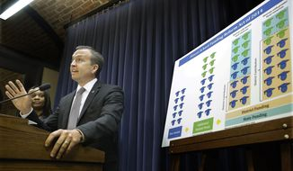 Illinois Sen. Andy Manar, D-Staunton, introduces an education funding reform bill that would put almost all state education funding into one pot and then require districts to demonstrate need before receiving part of it, a significant shift from the current method, which factors in a district's poverty for some types of state aid, but not others, during a news conference at the Illinois State Capitol Wednesday, April 2, 2014, in Springfield, Ill. (AP Photo/Seth Perlman)