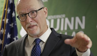 Democratic lieutenant governor candidate Paul Vallas speaks during a news conference Wednesday, April 2, 2014, in Chicago. Vallas is a former Chicago Public Schools CEO and made his first solo public appearance Wednesday in Chicago since winning the Democratic nomination. (AP Photo/M. Spencer Green)