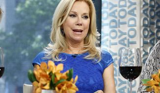 "This Sept. 4, 2013 photo released by NBC shows co-hosts Hoda Kotb, left, and Kathie Lee Gifford on the fourth hour of the ""Today"" show in New York.  Gifford has launched her own wine label offering Gifft chardonnay and a Gifft red blend.  In an interview to promote her new Gifft wines Tuesday, April 1, Gifford said that NBC has asked her not to plug her chardonnay and red blend on the show. (AP Photo/NBC,  Peter Kramer)"