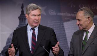 "Sen. Sheldon Whitehouse (left) of Rhode Island, shown here with Sen. Charles E. Schumer of New York, kicked off the Democrats' two-day campaign in the Senate by saying, ""Welcome to the 'Web of Denial.' And thank you to those who are working to expose it. It is a filthy thing in our democracy."" (Associated Press/File)"