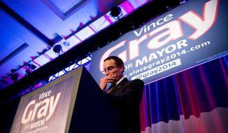 Washington, D.C. Mayor Vincent Gray delivers his concession speech on election night at the Hyatt Regency on Capitol Hill after losing to Muriel Bowser, Washington, D.C., Tuesday, April 1, 2014. (Andrew Harnik/The Washington Times)