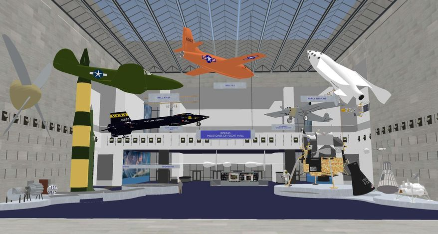 """This undated artist rendering provided by the National Air and Space Museum, Smithsonian Institution shows changes to Milestones of Flight Hall at the National Air and Space Museum in Washington.  For the first time since its 1976 opening, the Smithsonian's National Air and Space Museum plans to overhaul its central exhibition showing the milestones of flight. The extensive renovation announced Thursday will be carried out over the next two years with portions of the exhibit closing temporarily over time, said Museum Director J.R. """"Jack"""" Dailey.  (AP Photo/National Air and Space Museum, Smithsonian Institution)"""