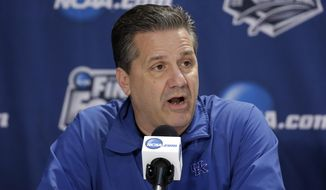 Kentucky head coach John Calipari participates in a news conference for their NCAA Final Four tournament college basketball semifinal game Thursday, April 3, 2014, in Dallas. Kentucky plays Wisconsin on Saturday, April 5, 2014. (AP Photo/David J. Phillip)