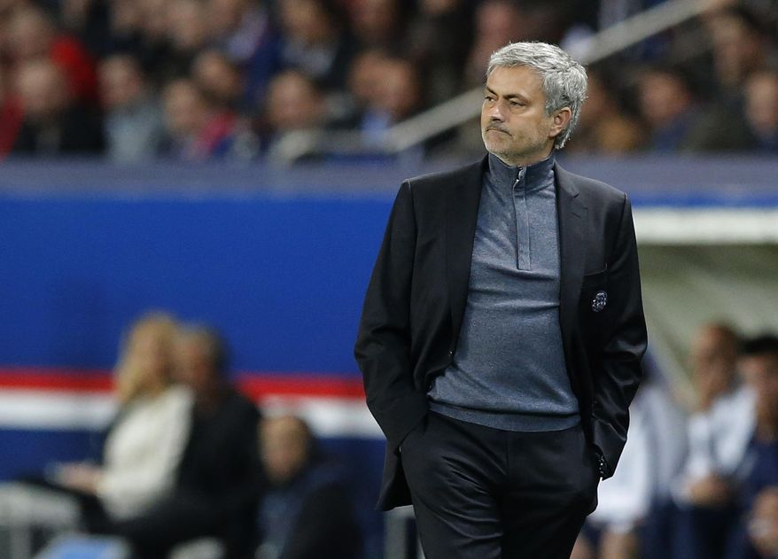 Chelsea's manager Jose Mourinho watches his team plays from the technical area during a Champions League quarterfinal first leg soccer match between Paris Saint-Germain and Chelsea at Parc des Princes stadium in Paris, Wednesday, April 2, 2014. (AP Photo/Michel Euler)