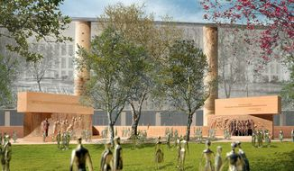 This handout image courtesy of Gehry Partners, LLP, 2013 shows the planned Dwight D. Eisenhower Memorial in Washington. The staff of a federal panel that must approve plans for memorials in the nation's capital is expected to recommend that commissioners reject the design for a memorial honoring President Dwight D. Eisenhower. The group working to build the memorial plans to take the project back to the National Capital Planning Commission with new evidence that its stainless steel material will be durable and long-lasting. The group is seeking approval to move forward, although the Eisenhower family and other critics have objected to architect Frank Gehry's design.  (AP Photo/Gehry Partners, LLP, 2013)