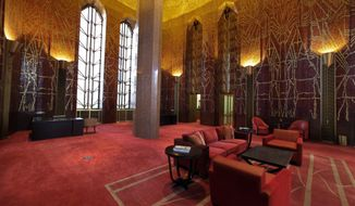 """This March 21, 2014 photo shows  the work of Art Deco muralist Hildreth Meiere in the glass mosaic Banking Room at One Wall Street in New York.  While Meiere's name has been largely forgotten her works abound throughout the country. """"The Art Deco Murals of Hildreth Meiere, """" by Catherine Coleman Brawer and Kathleen Murphy Skolnik with photographs by Meiere's granddaughter, Hildreth Meiere Dunn, is set for release May 1. (AP Photo/Richard Drew)"""
