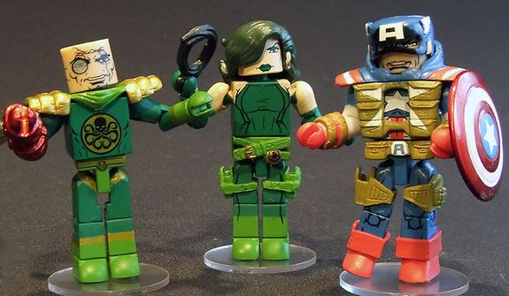 Diamond Select Toys' offers detailed, 2-inch tall versions of Baron Strucker, Viper and Fighting Chance Captain America in its Series 54 Minimates . (Photograph by Joseph Szadkowski / The Washington Times)